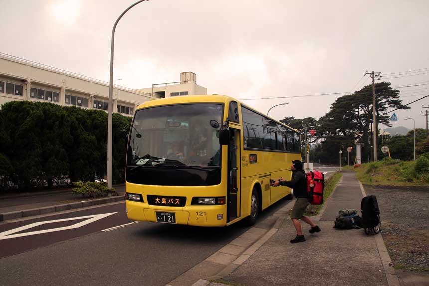 伊豆大島でのバス輪行