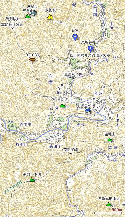 長岳周辺地図