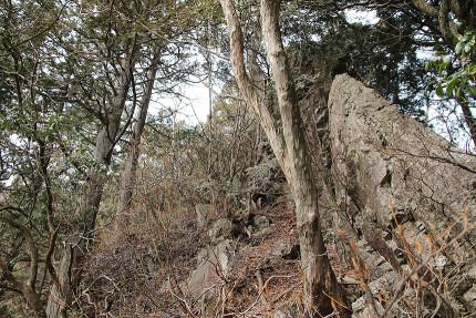 縦に大きい大岩は左を通過せよ。